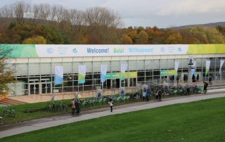 Photo: The main entrance to the Bonn Zone of COP23, which is in a park along the Rhine River.