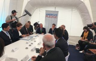 Photo: UNFCCC chief Patricia Espinosa meets with Fiji Prime Minister Frank Bainamarama, UN Special Envoy for Climate and Cities Michael Bloomberg, and other officials on Saturday at COP23.
