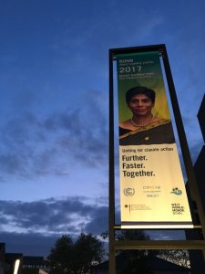 PHOTO: The COP23 motto: Further. Faster. Together.