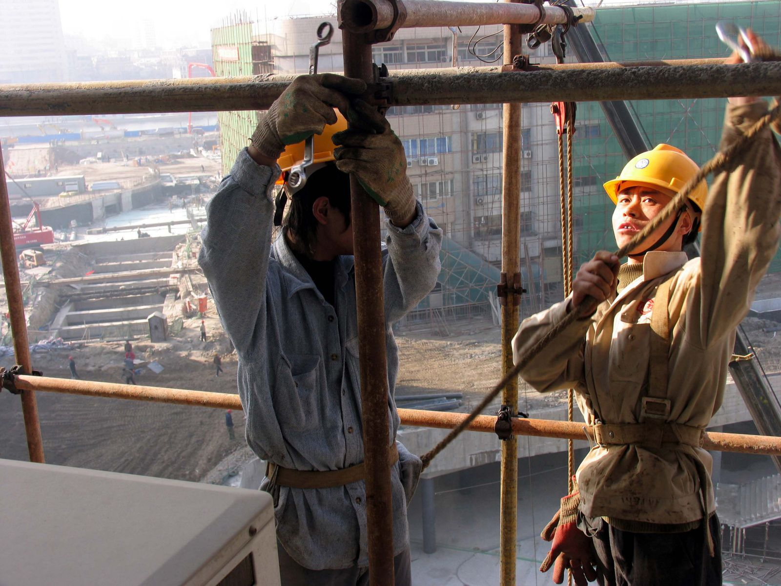 Construction workers at work, Tianjin. China.