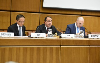 H.E. Mr. Keith Azzopardi, Permanent Representative of the Republic of Malta to the United Nations Office at Vienna, delivering a message on behalf of the Committee on the Exercise of the Inalienable Rights of the Palestinian People