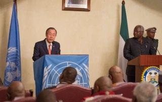 Secretary-General Ban Ki-moon (left) addresses a joint press conference with President Ernest Bai Koroma of Sierra Leone. UN Photo/Eskinder Debebe