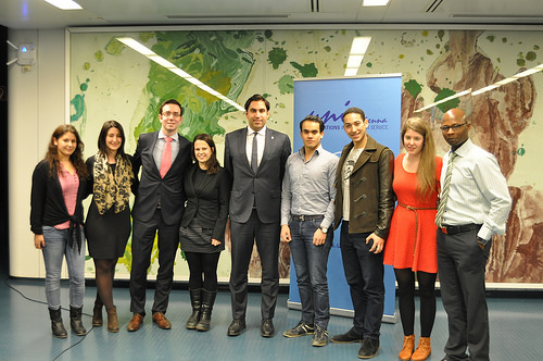 """The Envoy pictured with participants at a Round Table Discussion on """"Your world – your voice"""" Youth engagement in setting the global development agenda."""