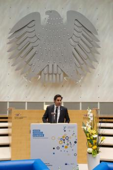 "Ahmad Alhendawi speaking at the ""Building Tomorrow's Europe: European Conference"""