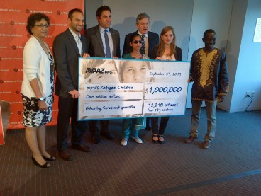 Avaaz hands over a cheque of 1 Million USD for Education for Syrian Refugee Children and Youth