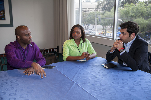 CARICOM Youth Ambassadors discussing with the Envoy.