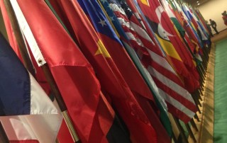 Flags from countries participating in the General Assembly