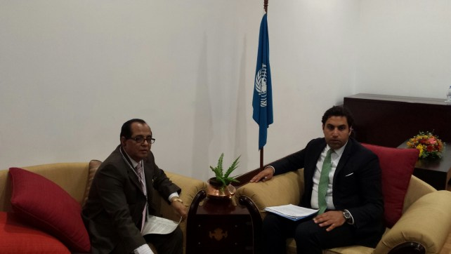 The Minister from Bangladesh with the Youth Envoy.