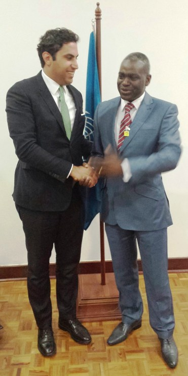 Alhendawi with the Minister from Congo-Brazzaville.