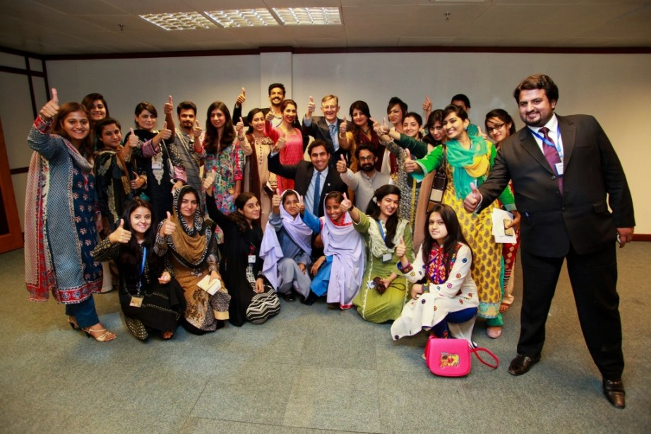 The Envoy with a group of young Pakistanis after a very productive interactive discussion on the needs and challenges of youth in the country.