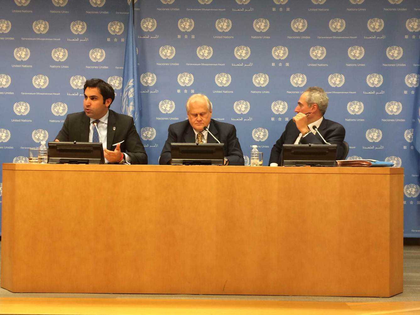 Youth Envoy Ahmad Alhendawi; the President of UN ECOSOC, Ambassador Martin Sajdik; UN Spokesperson Stéphane Dujarric during the noon briefing