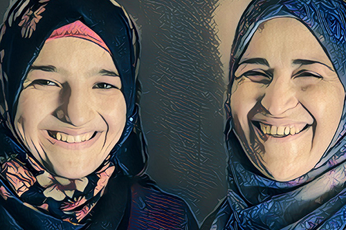 Saba and her mother speak out against child marriage. Based on photo by UNFPA Jordan/Sima Diab.