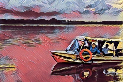"Dr. José Luis Palma Vélez aboard the ""Health Canoe."" Based on photo by UNFPA/Jose Antonio Guayasamin."