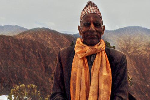 Astrologer and priest Dev Dutta Bhatta fights child marriage. Based on a photo by UNFPA Nepal/Santosh Chhetri.