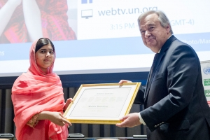 Malala Yousafzai, global advocate for girls' education and the youngest-ever Nobel Peace Prize laureate, was designated as a United Nations Messenger of Peace with a special focus on girls' education, at a special ceremony at UN headquarters. UN Photo/Rick Bajornas