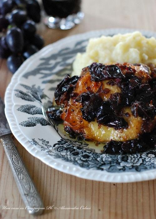 Pollo arrosto all'uva nera