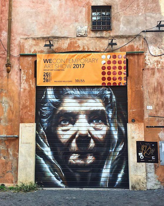 Neve street art trastevere