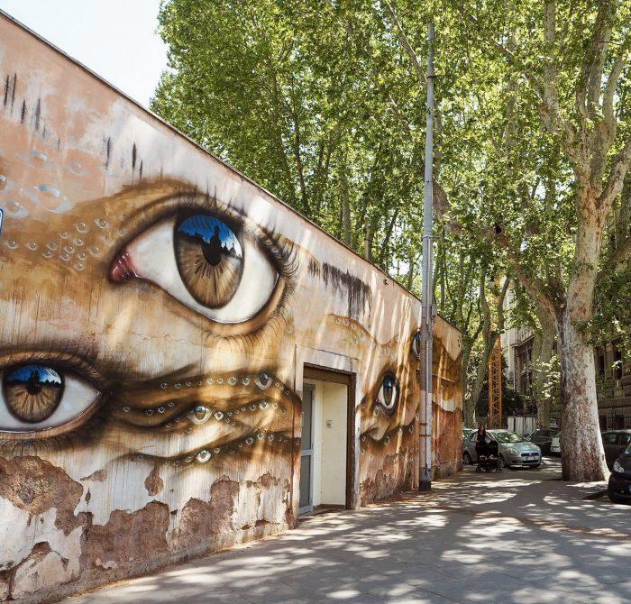 Street Art trastevere Roma occhi