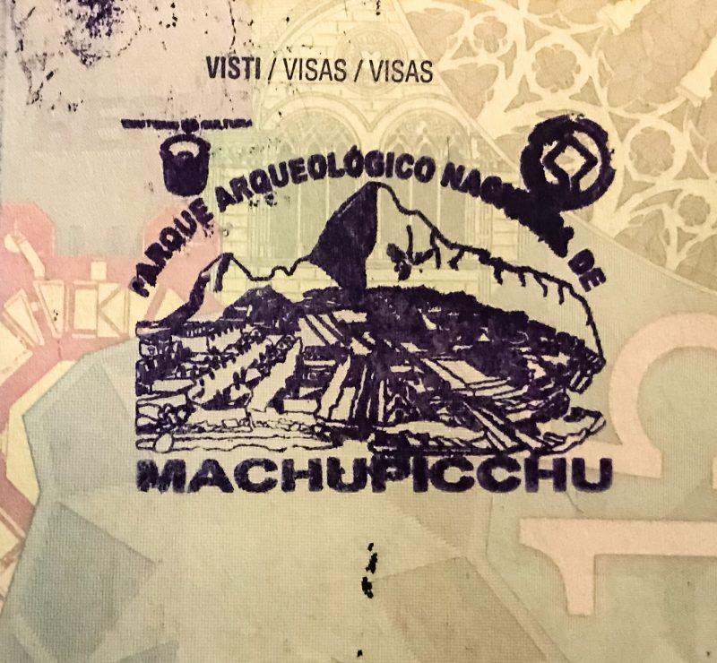 Timbro passaporto Machu Picchu