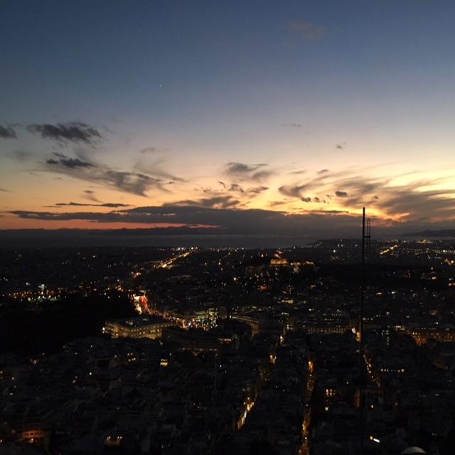 Vista tramonto monte Licabetto Atene