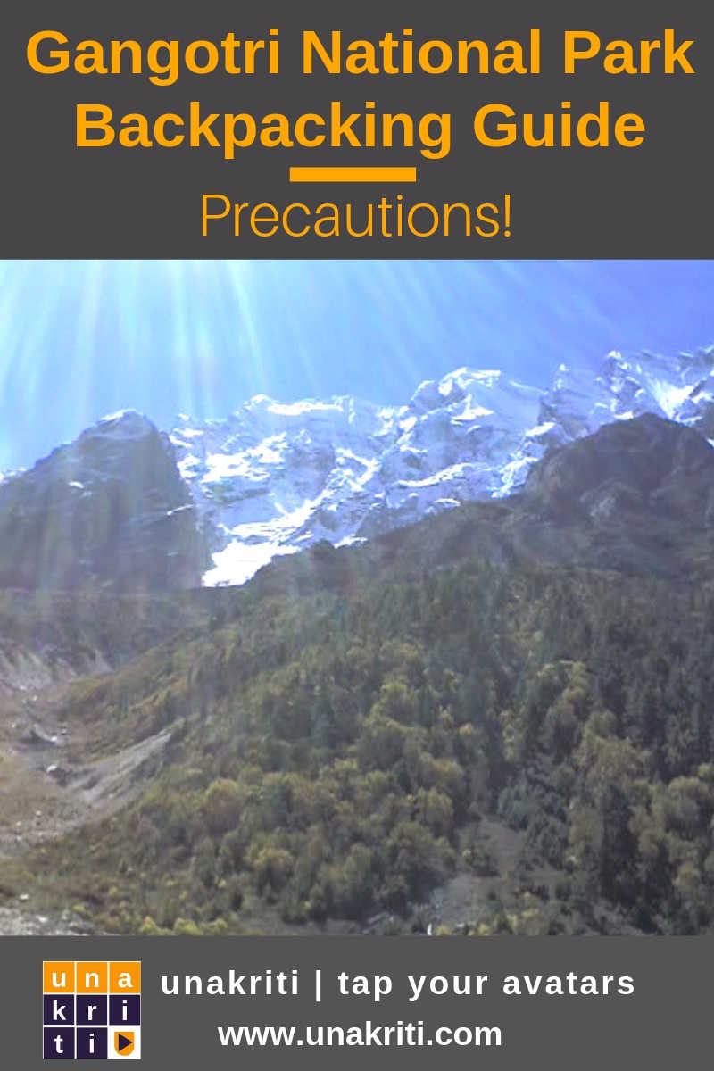 What precautions to take when backpacking Gangotri National Park?