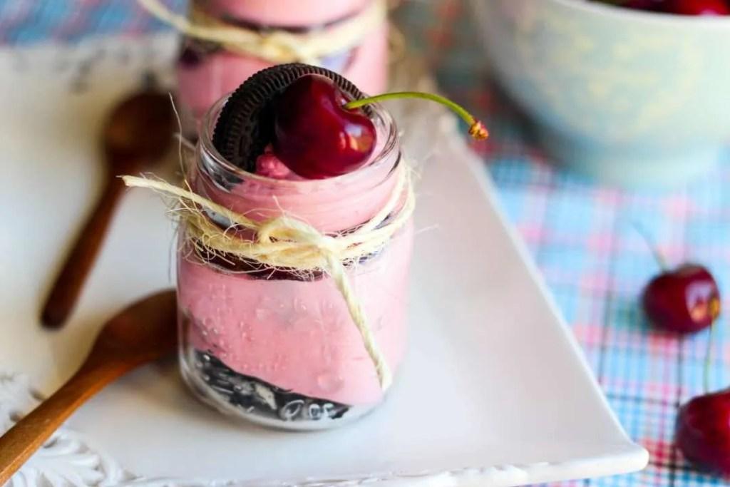 Oreo Cherry Cheesecake in a jar