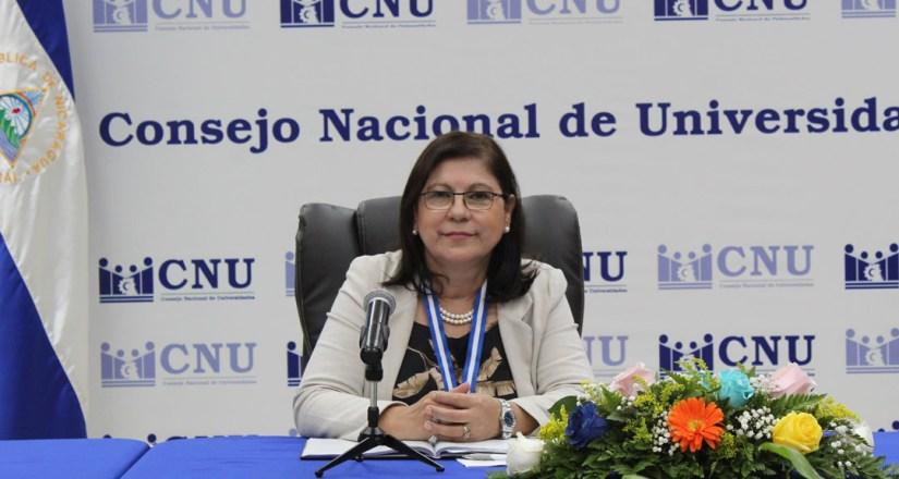 Maestra Ramona Rodríguez Pérez, Rectora de la UNAN-Managua y Presidenta del CNU.