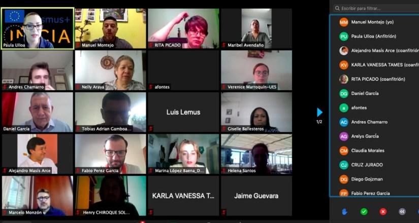 Participación virtual de los representantes de las universidades.