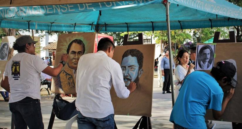 Movimiento pictórico de la UNAN-León realiza obras de Rubén Darío.