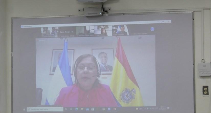 Intervención, vía zoom, de la rectora de la UNAN-Managua.