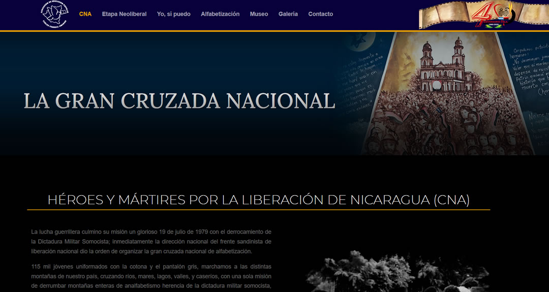 Crean sitio web para la difusión de la memoria histórica y los programas de la Cruzada Nacional de Alfabetización