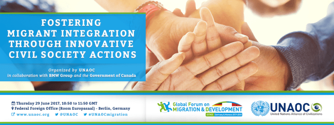 "UNAOC organizes side event at the 10th Global Forum on Migration and Development: ""Fostering Migrant Integration through Innovative Civil Society Actions"""