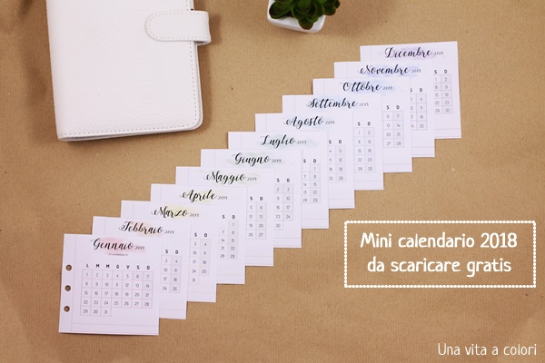 mini calendario 2018 stampabile