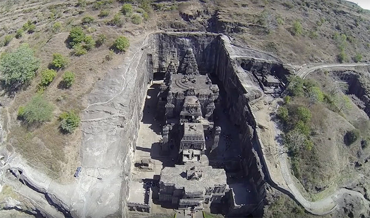 Kailasa temple carved from a single rock