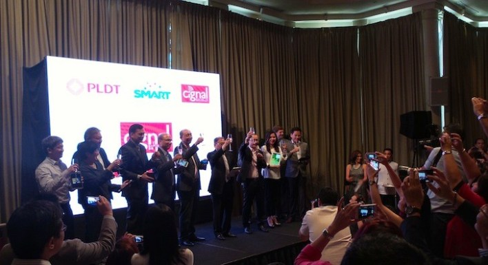 PLDT, SMART, and Cignal executives on stage