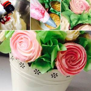 Icing cupcake bouquets