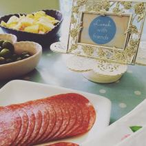 Lunch with friends. Add a little sprinkle of loveliness to your lunch buffet with a framed welcome sign.