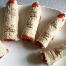 Jam, blood-filled, finger sandwiches