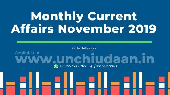 Current Affairs PDF of November 2019 by UnchiUdaan