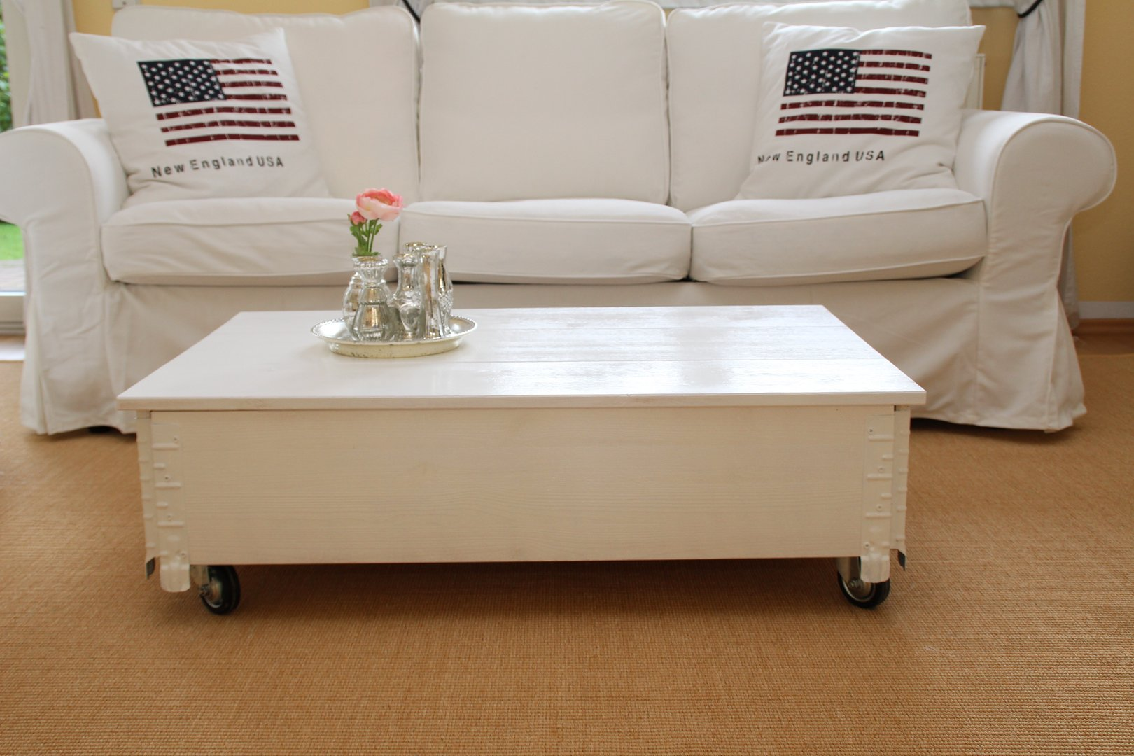 Details About Coffee Table Chest Living Room Sofa Solid Wood Vintage Shabby Loft In White