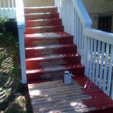 Deck stain in Progress