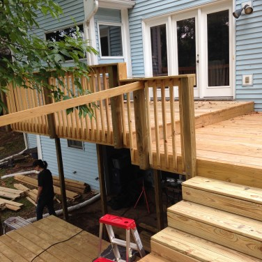 Deck rails going in