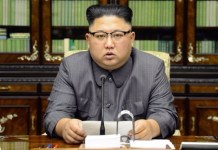 Kim Jong-Un at a North Korean press conference