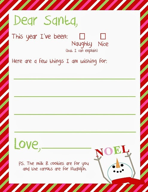 Dear Santa Christmas free printable from Uncommon Designs