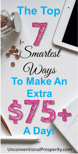 The Top 7 Smartest Ways To Make An Extra $75+ A Day! If you are looking to make extra money every day that can significantly reduce the stress in your financial life, this article is a must read!