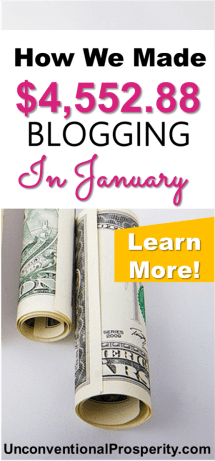 How we made $4552.88 online blogging in January! Lots of details to learn from if you are a financial blogger or want to start a blog to make some extra money as a side hustle or full-time income source.