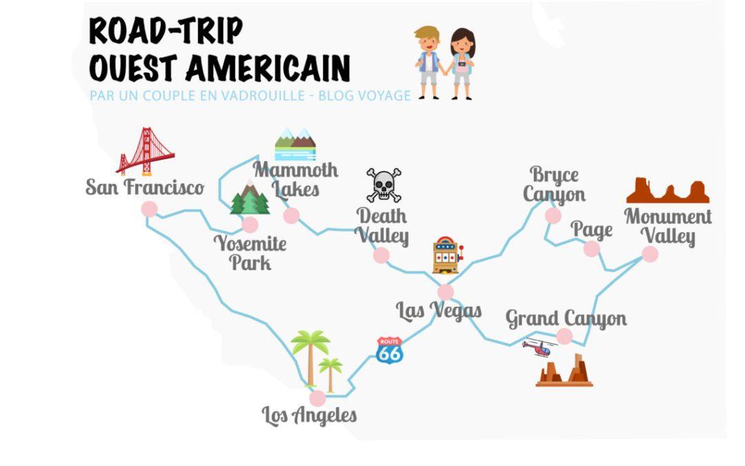 Carte Road Trip Ouest Americain_Un couple en vadrouille