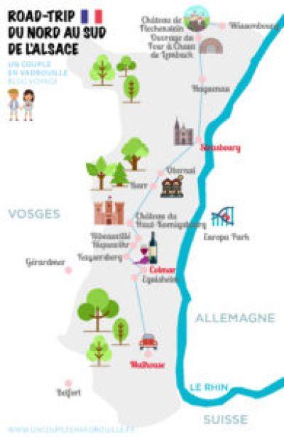 Carte Alsace - Road Trip du Nord au Sud de l'Alsace