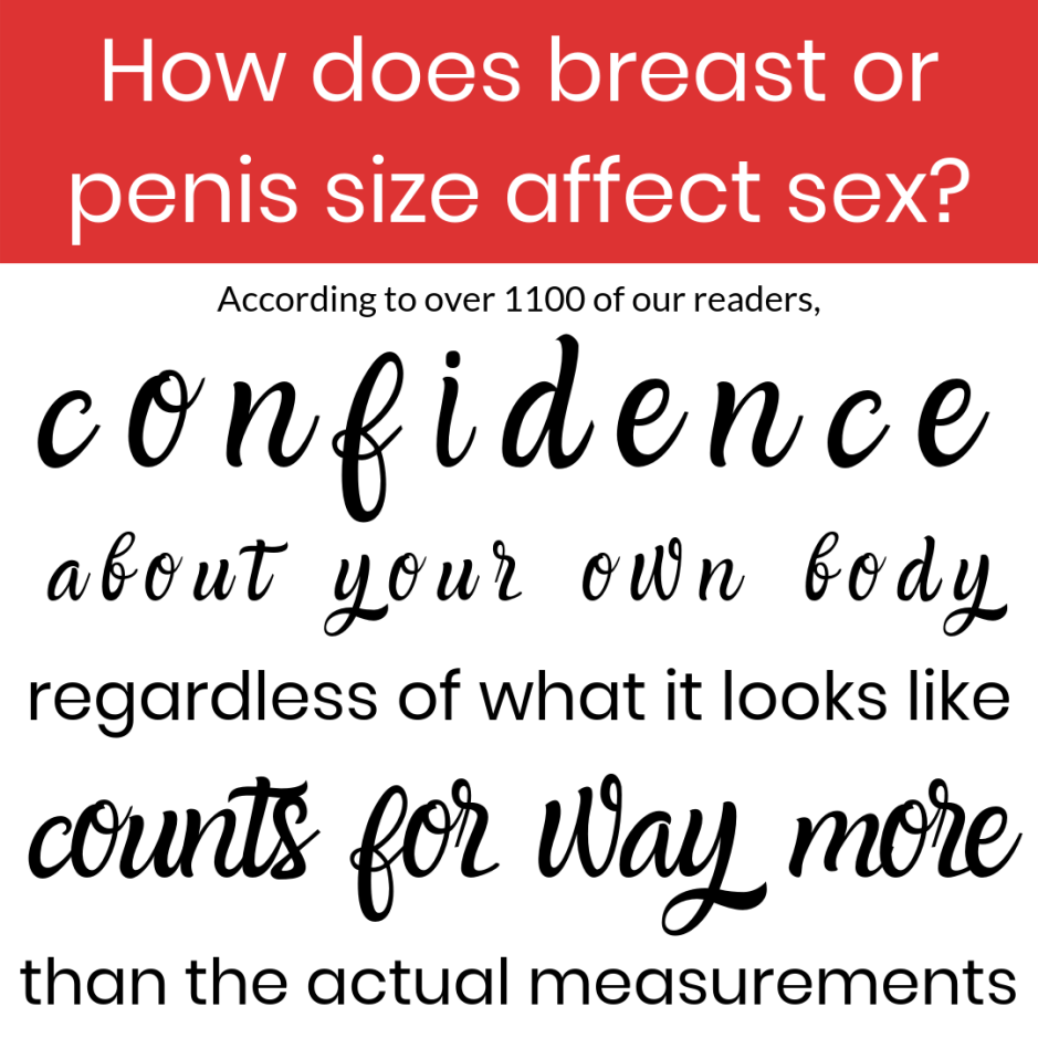 How does breast or penis size affect sex? According to over 1100 of our readers, confidence about your own body, regardless of what it looks like, counts for way more than the actual measurements.