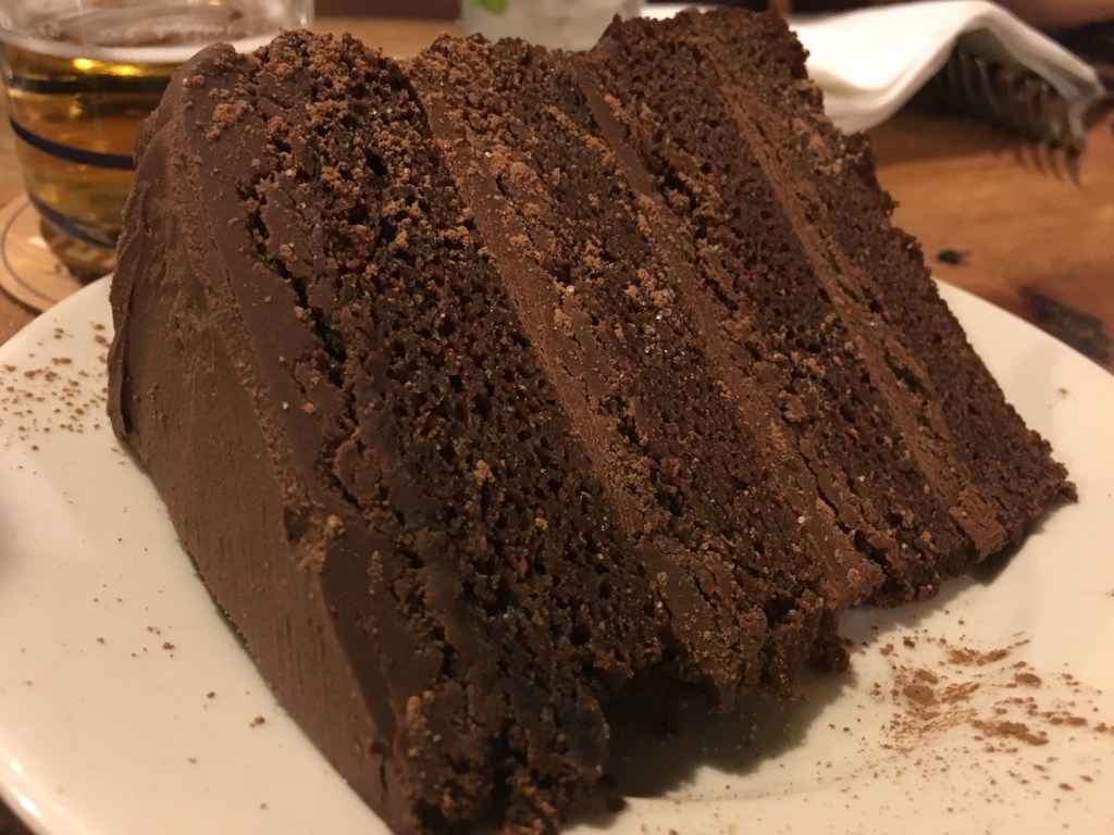 Guinness Chocolate Layer Cake with Chocolate Ganache at The Black Raven - photo by Dennis Spielman